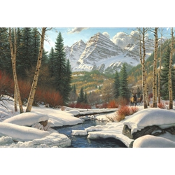 """Mark Keathley Handsigned and Numbered Limited Edition Hand Embelished Canvas Giclee:""""Winter Retreat"""""""