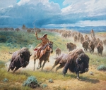 "Martin Grelle Hand Signed and Numbered Limited Canvas Giclee:""Chasing Thunder"""