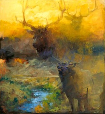 """Mary Roberson Handsigned & Numbered Limited Edition Giclee on Paper:""""Elk at the Yellowstone"""""""