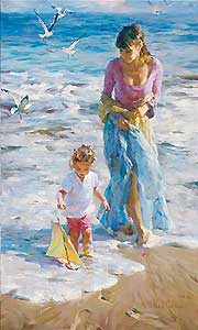 "Michael and Inessa Garmash Handsigned and Numbered Embellished Giclee on Canvas:""Precious Moments"""