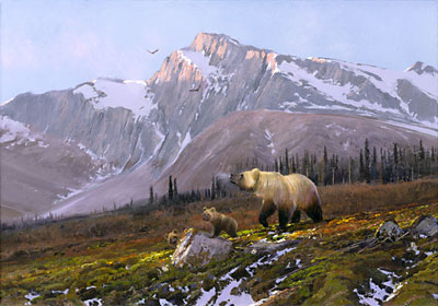 "Michael Coleman Hand Signed & Numbered Limited Edition Giclee on Paper:""Alaskan Dawn - Grizzly Family"""