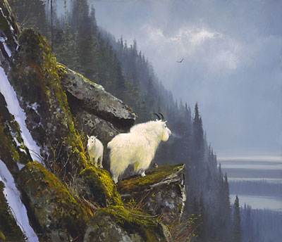 """Michael Coleman Hand Signed & Numbered Limited Edition Giclee on Paper:""""Rugged Heights - Mountain Goat Family"""""""
