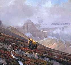 "Michael Coleman Handsigned & Numbered Giclee Limited Edition Print:""In The Canadian Rockies-Grizzly"""