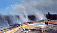 "Michael Coleman Handsigned & Numbered Giclee Limited Edition Print:""Morning at Geyser Basin"""
