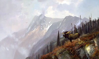 "Michael Coleman Handsigned & Numbered Giclee Limited Edition Print:""On the Halfway - Moose"""
