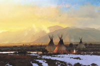 "Michael Coleman Handsigned & Numbered Giclee on Paper:""Blackfeet, Bitterroot Valley"""