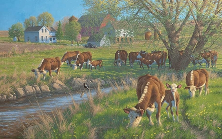 "Michael Sieve Hand Signed and Numbered Limited Edition Print:""Mother's Day-Hereford Cows"""