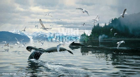 "Michael Sieve Handsigned and Numbered Limited Edition Print: ""Sounding-Humpbacks"""