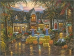 "Robert Finale Hand Signed and Numbered Limited Edition Hand-Embellished Giclee on Canvas:""Gatlinburg, Fall at the Village"""