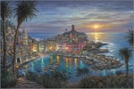"Robert Finale Hand Signed and Numbered Limited Edition Hand-Embellished Giclee on Canvas:""Vernazza Sunset"""