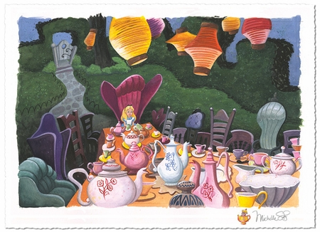 "Michelle St.Laurent Artist  Hand-Remarqued Limited on Hand-Deckled Paper:""Tea with Alice"""