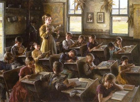 "Morgan Weistling Handsigned and Numbered Limited Edition Giclee: ""Country Schoolhouse, 1879"""