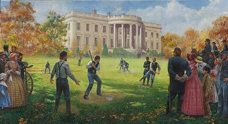 "Mort Künstler Hand Signed and Numbered Limited Edition Giclee:""The National Game (White House 1862)"""
