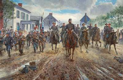 """Mort Künstler Hand Signed and Numbered Limited Edition Print:""""Race Down Chester Street"""""""