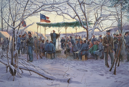 "Mort Kunstler Handsigned & Numbered Limited Edition Print (2006 Snow Scene) : ""Sunrise Service """
