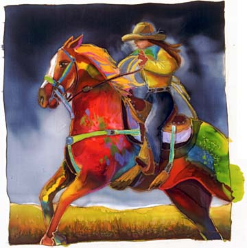 "Nancy Cawdrey Handsigned & Numbered Limited Edition Giclee on Paper:""Roma Rides The Range"""