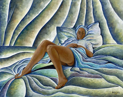 "Nathaniel Barnes Limited Edition Signed Giclee:""Dreaming Woman"""