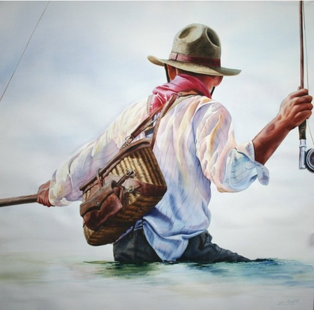 "Nelson Boren Handsigned and Numbered Limited Edition Giclee on Paper:""River Roundup"""