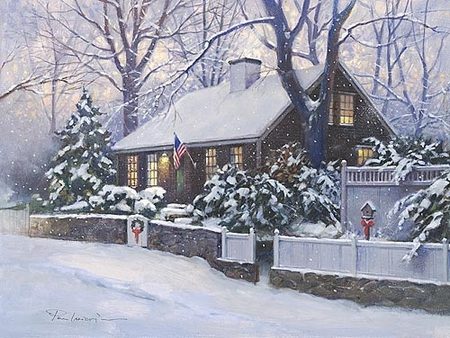 """Paul Landry Handsigned and Numbered Limited Edition Print:""""Cape Cod Christmas"""""""