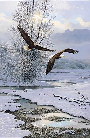 "Persis C. Weirs Limited Edition Print:""Winter Along The River-Bald Eagles"""