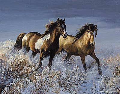 "Persis C. Weirs Limited Edition Print:""Winter Sage-Wild Horses"""