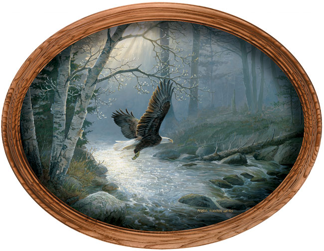 Persis Clayton Weirs Framed Canvas Oval Quot Spring Run
