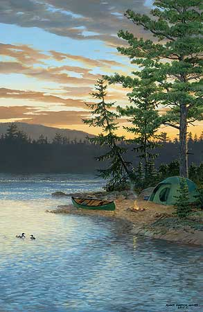 "Persis Clayton Weirs Hand Signed and Numbered Limited Edition Giclee on Canvas Edition: ""Summer Sunset - Loons"""