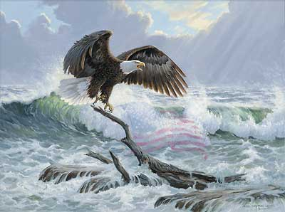 "Persis Clayton Weirs Handsigned & Numbered Limited Edition Print:"" To Shining Sea-Bald Eagle"""