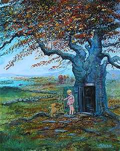 "Peter and Harrison Ellenshaw Limited Edition Giclee on Canvas:""Fall in the 100 Acre Wood """