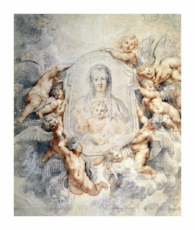 "Peter Paul Rubens Fine Art Open Edition Giclée:""Image of the Virgin Portrayed with Angels"""