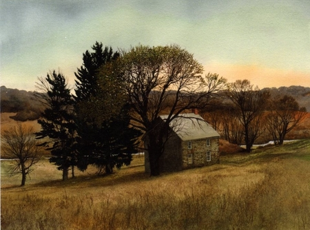 "Peter Sculthorpe Handsigned and Numbered Limted Edition Giclee on Etching Paper:""Creek House"""