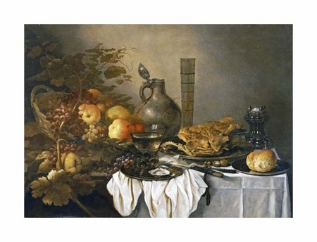 "Pieter Claesz Fine Art Open Edition Giclée:""A Still Life with a Roemer, Oysters, a Roll and Meat"""