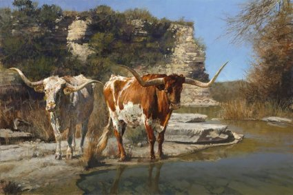 "Ragan Gennusa Hand Signed and Numbered Limited Edition Giclee on Paper and Canvas: ""Pinto Pardners"""