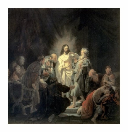 "Rembrandt Van Rijn Fine Art Open Edition Giclée:""Disbelief of Apostle Thomas"""