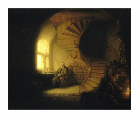 "Rembrandt Van Rijn Fine Art Open Edition Giclée:""Philosopher in Meditation"""