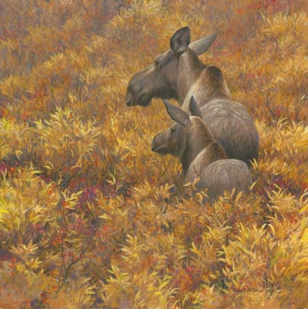 "Robert Bateman Hand Signed and Numbered Limited Edition Print: ""Fall Forage - Moose Calf and Cow """