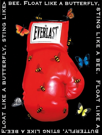 "Robert Deyber Artist Signed Limited Edition Hand-crafted Stone Lithograph:""Float Like A Butterfly, Sting Like A Bee"""