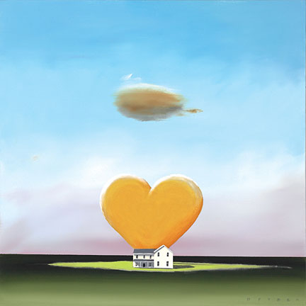 """Robert Deyber Artist Signed Limited Edition Hand-crafted Stone Lithograph:""""Home is Where the Heart is"""""""