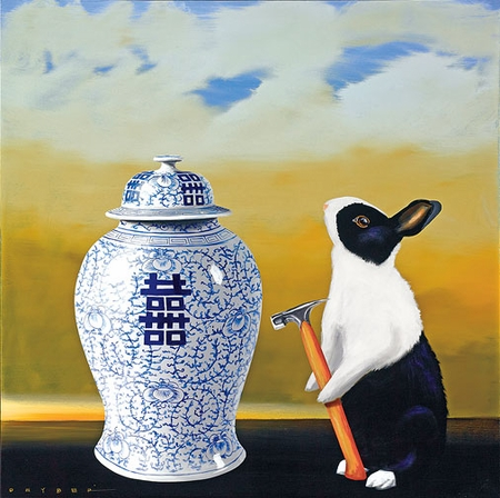 """Robert Deyber Artist Signed Limited Edition Hand-crafted Stone Lithograph:""""Bad Hare Day - Vase"""""""