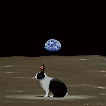 """Robert Deyber Artist Signed Limited Edition Hand-crafted Stone Lithograph:""""A Hare Out of Place I (Outer-Space)"""""""