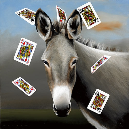 "Robert Deyber Artist Signed Limited Edition Hand-crafted Stone Lithograph:""The Jack Ass (Playing Cards)"""