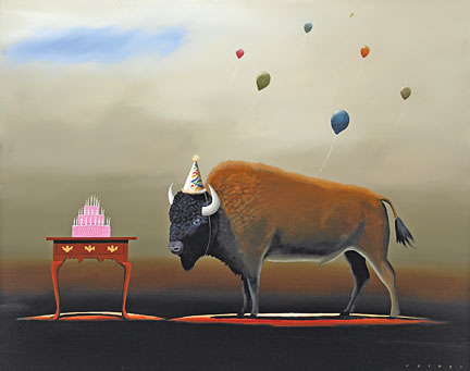 "Robert Deyber Artist Signed Limited Edition Hand-crafted Stone Lithograph:""The Party Animal III - Buffalo"""