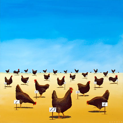 "Robert Deyber Artist Signed Limited Edition Hand-crafted Stone Lithograph:""The Pecking Order"""