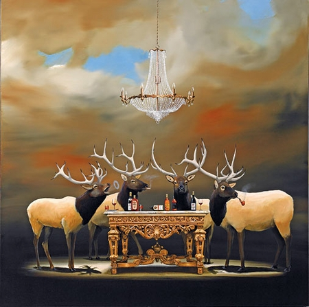 "Robert Deyber Artist Signed Limited Edition Hand-crafted Stone Lithograph:""The Stag Party"""