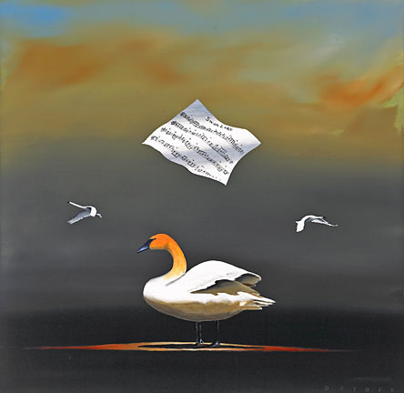 "Robert Deyber Artist Signed Limited Edition Hand-crafted Stone Lithograph:""The Swan Song"""
