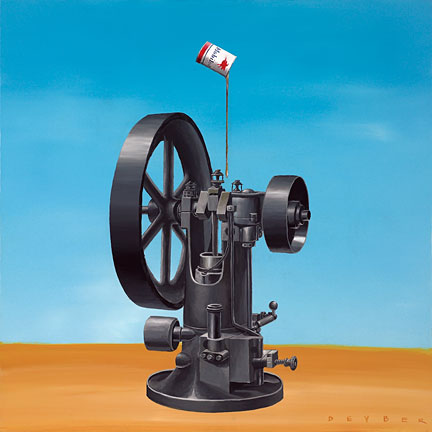 "Robert Deyber Artist Signed Limited Edition Hand-crafted Stone Lithograph:""The Well Oiled Machine"""