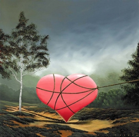 "Robert Deyber Artist Signed Limited Edition Hand-crafted Stone Lithograph:""You Captured My Heart"""
