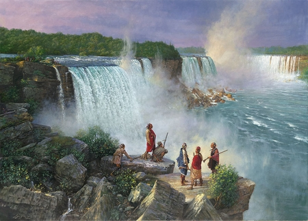 "Robert Griffing Limited Edition Lithograph: ""Thundering Water Ne-ah-ga  (Niagra Falls) Late 1700's"""