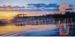 "Rodel Gonzalez Limited Edition Giclee on canvas:""Santa Monica Twilight"""