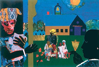 "Romare Bearden Limited Edition Signed Serigraph Ed. 950:""School Bell Time"""